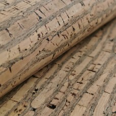 Cork leather - Portuguese cork fabric natural with brown stripes