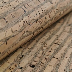 Cork Fabric Natural with brown stripes 50x65 cm - Portuguese cork leather
