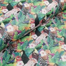 Cork leather - Portuguese cork fabric printed pattern on light pink cork (133)