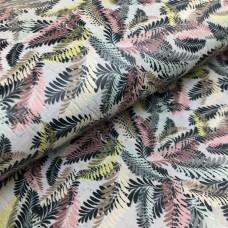 Cork leather - Portuguese cork fabric printed pattern on rustic light gray cork (148)