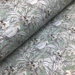 Cork leather - Portuguese cork fabric printed pattern on aqua green cork (151)