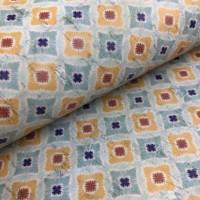 Cork leather - Portuguese cork fabric printed pattern on white cork (152)