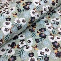 Cork leather - Portuguese cork fabric printed pattern on aqua green cork (155)