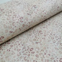 Cork leather - Portuguese cork fabric printed pattern on white cork (163c)