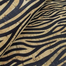 "Cork leather, green product, Portuguese cork fabric, 70x50cm/ 27.50""x20"", Zebra pattern (22)"