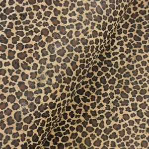 Cork leather - Portuguese cork fabric printed pattern on natural cork (023)