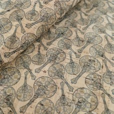 "Cork leather, green product, Portuguese cork fabric Printed pattern 68x50cm / 27.50""x20"" (028)"