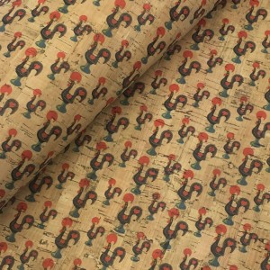 Cork leather - Portuguese cork fabric printed pattern on natural cork (029)