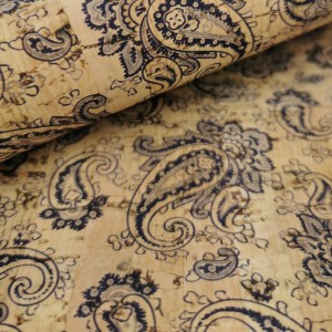 Cork leather - Portuguese cork fabric printed pattern on natural cork (030)
