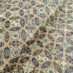 Cork leather - Portuguese cork fabric printed pattern on natural cork (035)