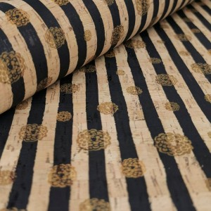Cork leather - Portuguese cork fabric printed pattern on natural cork (036)