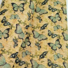 "Cork leather, green product, Portuguese cork fabric Printed pattern 68x50cm / 27.50""x20"" (042)"