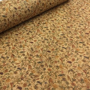 Cork leather - Portuguese cork fabric printed pattern on natural cork (046)