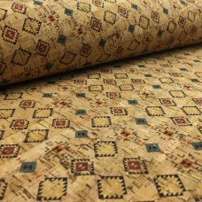 Cork leather - Portuguese cork fabric printed pattern on natural cork (051)