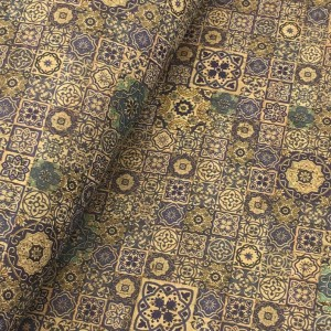 """Cork leather, green product, Portuguese cork fabric Printed pattern 68x50cm / 27.50""""x20"""" (007)"""