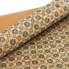 Cork leather - Portuguese cork fabric printed pattern on natural cork (084)