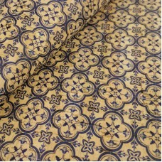 Cork leather - Portuguese cork fabric printed pattern on natural cork (088)