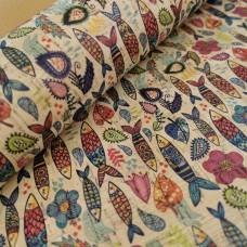 "Cork leather, green product, Portuguese cork fabric sardine Printed pattern 68x50cm / 27.50""x20"" (090)"