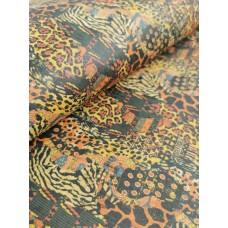 "Cork fabric, Printed pattern on natural rustic 68x50cm / 27.50""x20"" (O28)"