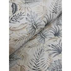 Cork leather - Portuguese cork fabric printed pattern on rustic light gray cork (O47)