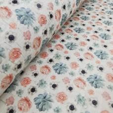 "Printed pattern Pink Flowers on white cork 68x50cm / 27.50""x20"", (B14)"