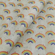 "Portugal cork fabric, Printed pattern rainbow on white cork 68x50cm / 27.50""x20"", (C17)"