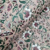 Cork leather - Portuguese cork fabric printed pattern on light pink cork (F21_01)