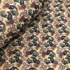 Cork leather - Portuguese cork fabric printed pattern on natural cork F21_11