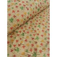 "Cork fabric, Printed pattern on natural rustic 68x50cm / 27.50""x20"" (O13)"