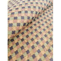 "Cork fabric, Printed pattern on natural rustic 68x50cm / 27.50""x20"" (O17)"