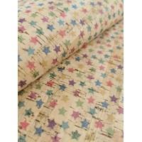 "Cork fabric, Printed pattern on natural rustic 68x50cm / 27.50""x20"" (O19)"