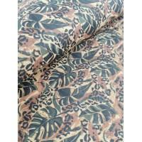 "Cork fabric, Printed pattern on natural rustic 68x50cm / 27.50""x20"" (O23)"