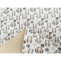 "Cork fabric, Printed pattern on white cork 68x50cm / 27.50""x20"", (O31)"