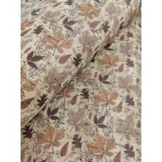 "Cork fabric, Printed pattern on natural rustic 68x50cm / 27.50""x20"" (O32)"