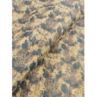 "Cork fabric, Printed pattern on natural rustic 68x50cm / 27.50""x20"" (O35)"
