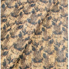 "Cork fabric, Printed pattern on natural rustic 68x50cm / 27.50""x20"" (O35)"