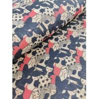 "Cork fabric, Printed pattern on natural rustic 68x50cm / 27.50""x20"" (O36)"