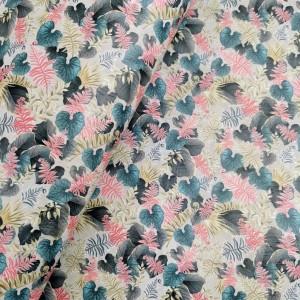Cork leather - Portuguese cork fabric printed pattern on rustic light gray cork (O43)