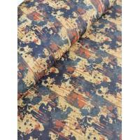 "Cork fabric, Printed pattern on natural rustic 68x50cm / 27.50""x20"" (O6)"