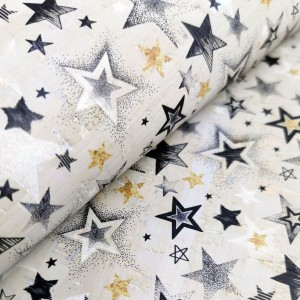 "Cork fabric, Printed pattern on light gray rustic 68x50cm / 27.50""x20"" (O7)"
