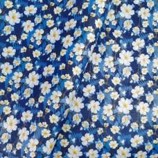 "Portuguese cork fabric, Printed pattern on Royal Blue cork 68x50cm / 27.50""x20"", (S103)"