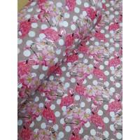 "Printed pattern Flamingo on Light Pink cork fabric 68x50cm / 27.50""x20"", (S125)"