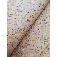 "Portuguese cork fabric, Printed pattern on natural cork 68x50cm / 27.50""x20"" (S129)"