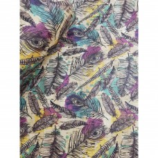 "Printed pattern Feathers on natural cork fabric 68x50cm / 27.50""x20"", (S151)"
