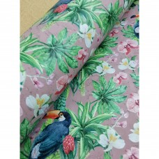 "Printed pattern Pelican on Light Pink cork fabric 68x50cm / 27.50""x20"", (S160)"