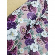 "Printed pattern Flowers on Light Pink cork fabric 68x50cm / 27.50""x20"", (S161)"