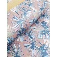 "Printed pattern Flowers on Light Pink cork fabric 68x50cm / 27.50""x20"", (S169)"