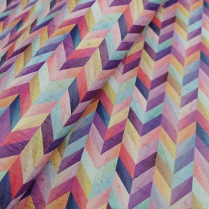 Cork leather - Portuguese cork fabric printed pattern on white cork (S43)