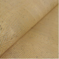 "Portuguese cork fabric, Printed pattern on light yellow cork 68x50cm / 27.50""x20"", (S54)"