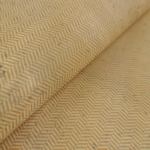 Cork leather - Portuguese cork fabric printed pattern on light yellow cork (S54)